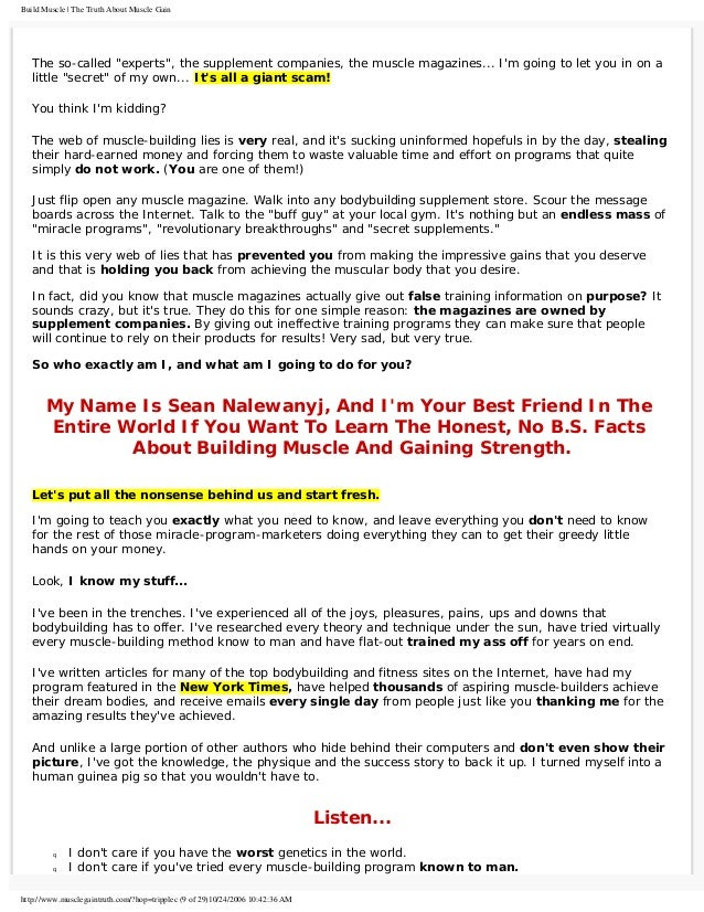 The Truth About Building Muscle 245 Page Bodybuilding E Book Full