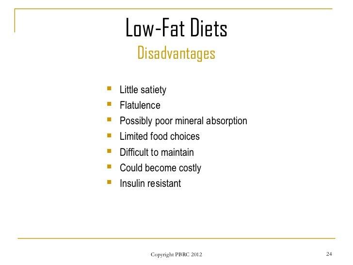 low fat diet cons