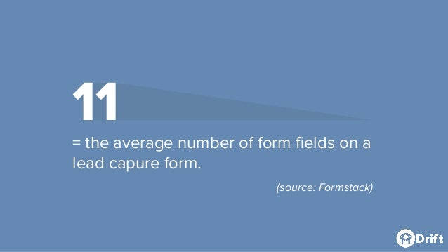 11 = the average number of form fields on a lead capure form. (source: Formstack)