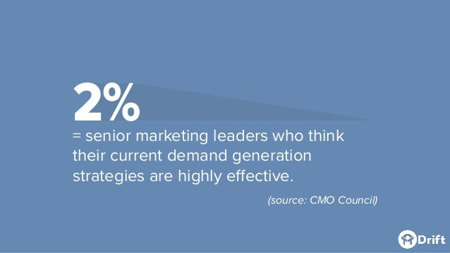 2%= senior marketing leaders who think their current demand generation strategies are highly effective. (source: CMO Counc...