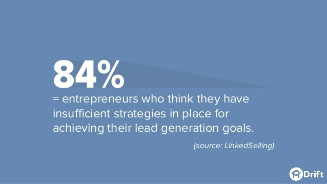 84%= entrepreneurs who think they have insufficient strategies in place for achieving their lead generation goals. (source...