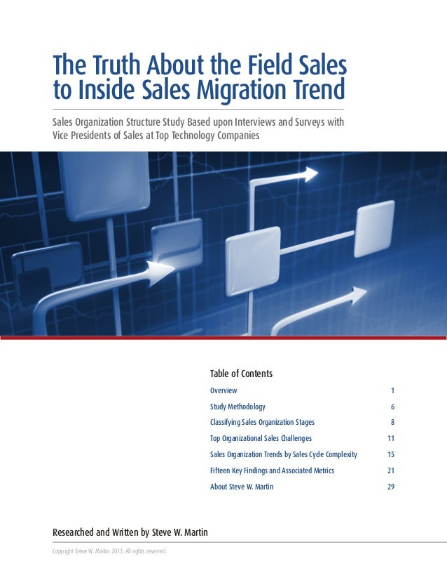 The Truth About the Field Sales to Inside Sales Migration Trend Sales Organization Structure Study Based upon Interviews a...