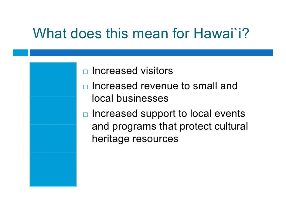 What does this mean for Hawai`i?          Increased visitors         I        d i it         Increased revenue to small an...