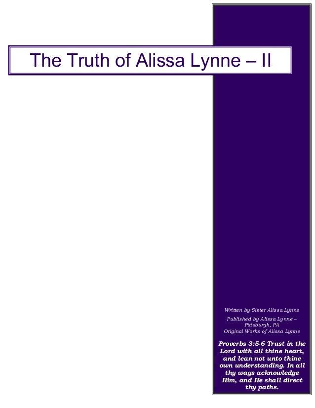 Written by Sister Alissa Lynne Published by Alissa Lynne – Pittsburgh, PA Original Works of Alissa Lynne Proverbs 3:5-6 Tr...