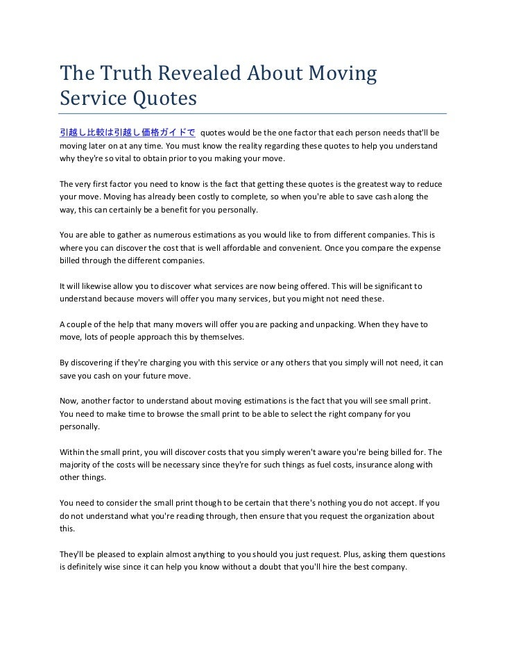 The Truth Revealed About Moving Service Quotes