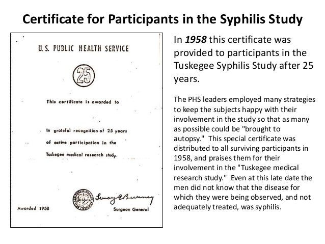 The Tuskegee Syphilis Study and Its Implications for the ...