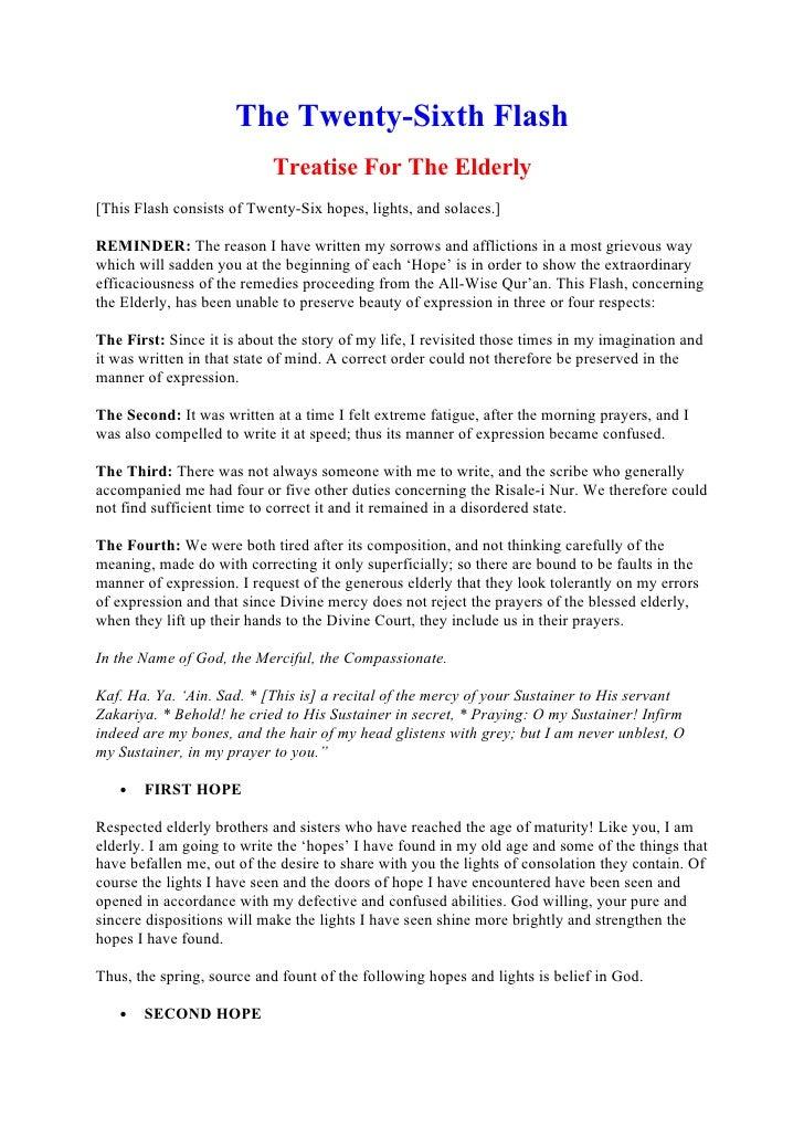 The Twenty-Sixth Flash                            Treatise For The Elderly [This Flash consists of Twenty-Six hopes, light...