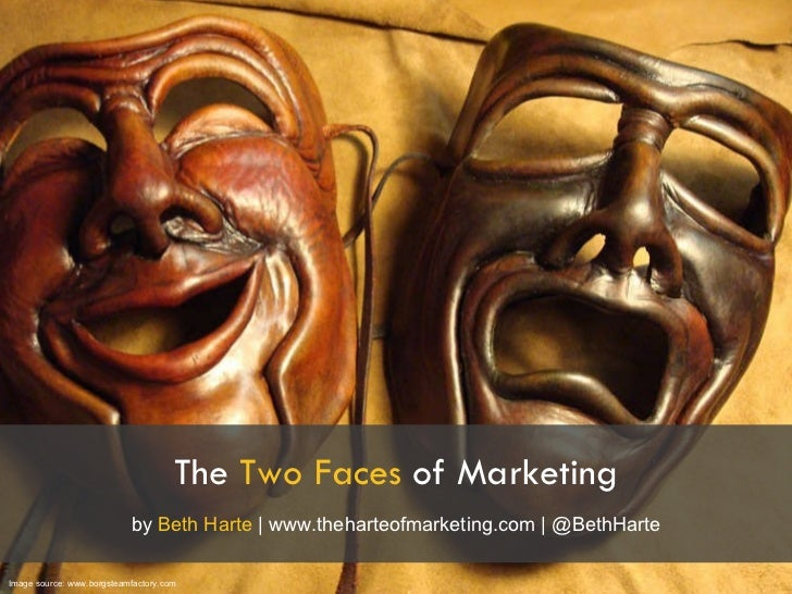 The  Two Faces  of Marketing Image source: www.borgsteamfactory.com by  Beth Harte  | www.theharteofmarketing.com | @BethH...