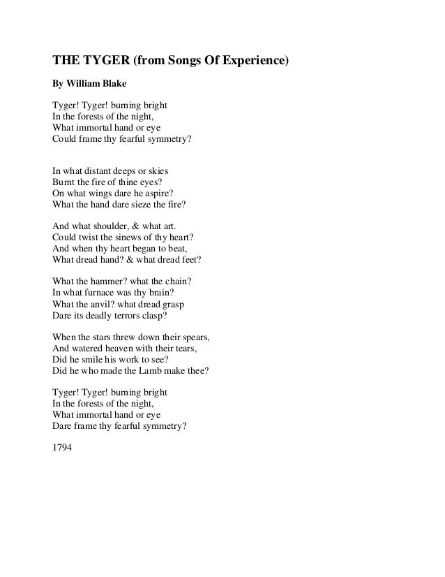 The tyger by william blake - from Songs of Experience