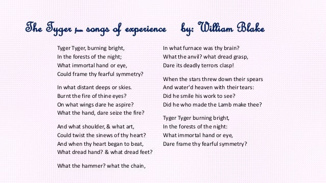 The tyger from songs of experience By: William Blake