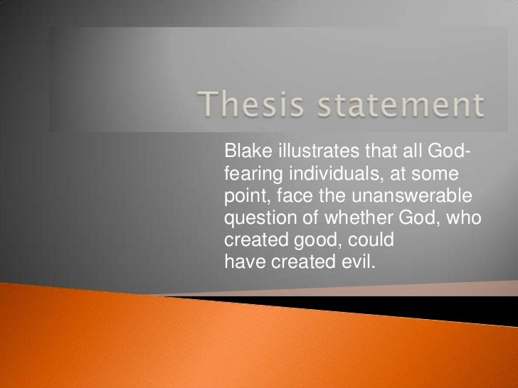 thesis statement for the tyger by william blake