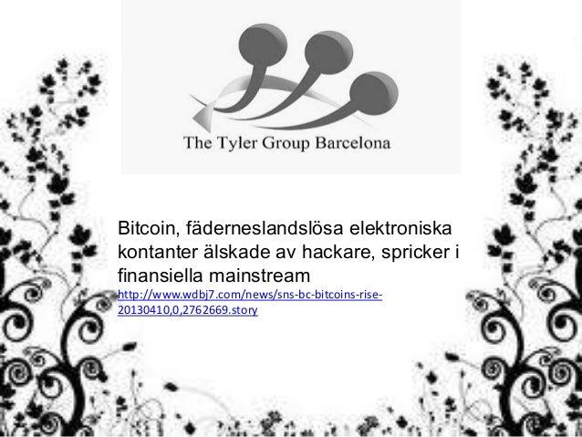 Bitcoin, fäderneslandslösa elektroniskakontanter älskade av hackare, spricker ifinansiella mainstreamhttp://www.wdbj7.com/...