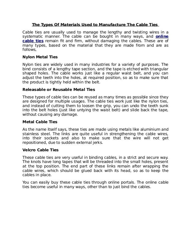 The Types Of Materials Used to Manufacture The Cable Ties