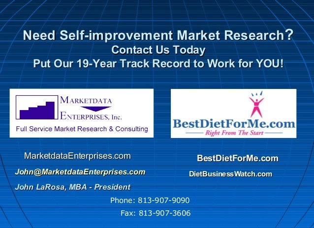 Need Self-improvement Market Research? Contact Us Today Put Our 19-Year Track Record to Work for YOU!  MarketdataEnterpris...