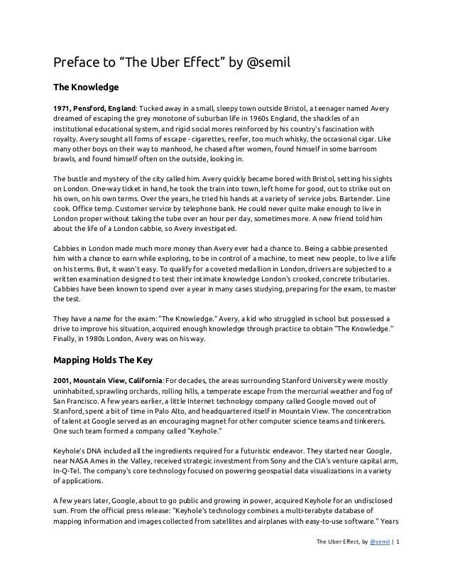"""Preface to """"The Uber Effect"""" by @semil  The Knowledge  1971, Pensford, England: Tucked away in a small, sleepy town outsid..."""