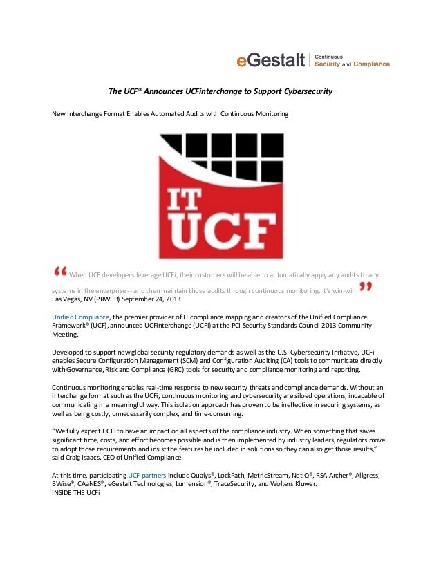 The UCF® Announces UCFinterchange to Support Cybersecurity New Interchange Format Enables Automated Audits with Continuous...