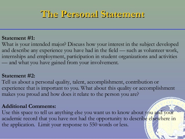 Tips for University of California Personal Statements
