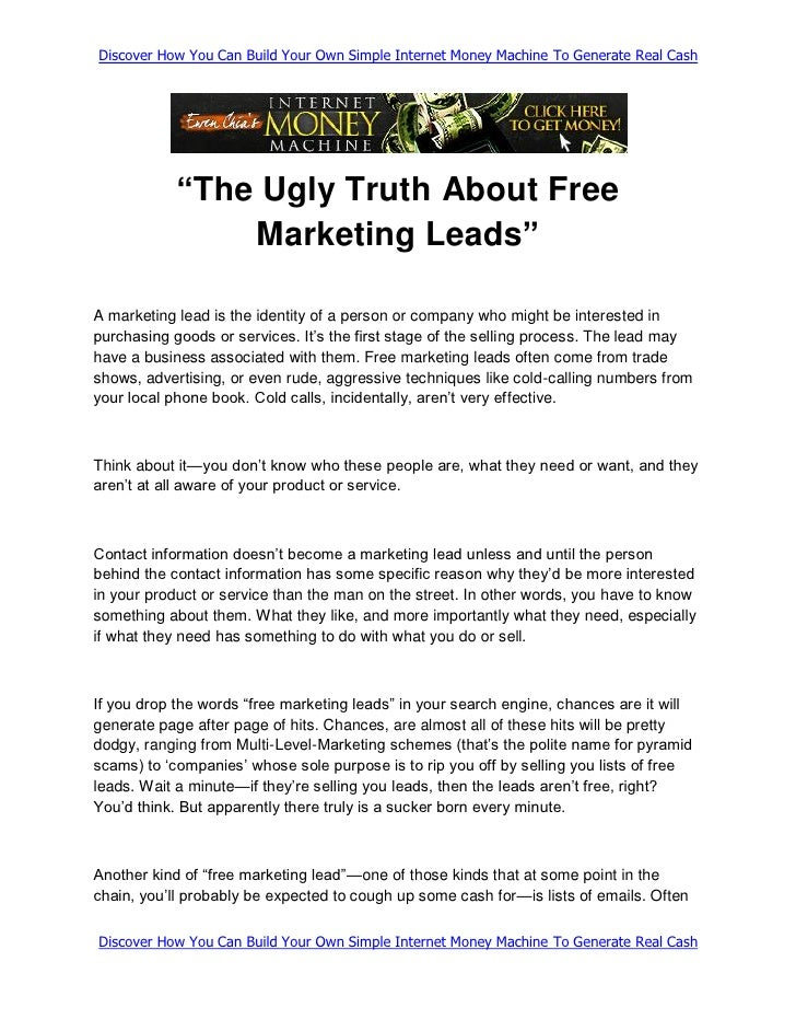"Discover How You Can Build Your Own Simple Internet Money Machine To Generate Real Cash                 ""The Ugly Truth Ab..."