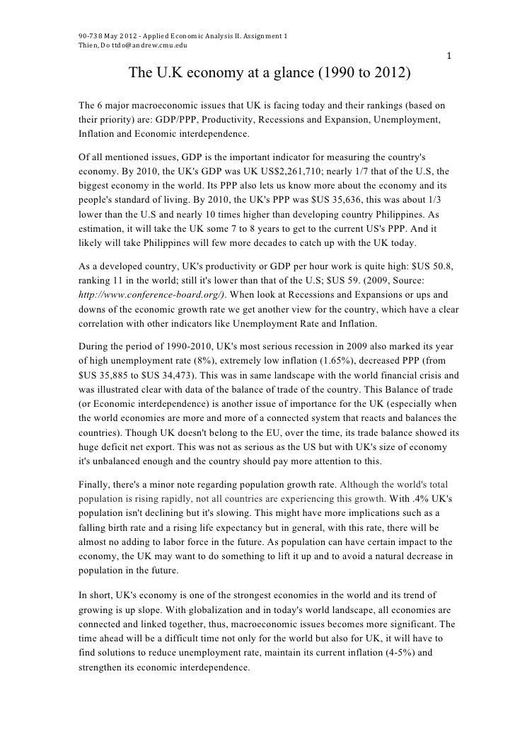 90-‐738 May 2012 -‐ Applied Economic Analysis II. Assignment 1  Thien, Do ttdo@andrew.cmu.edu...