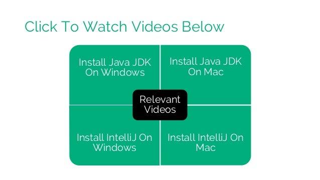 Install Java JDK On Windows Install Java JDK On Mac Install IntelliJ On Windows Install IntelliJ On Mac Relevant Videos Cl...