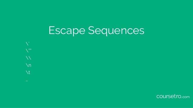 """Escape Sequences ' """"""""  n t … coursetro.com"""