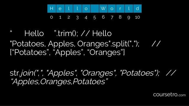 """"""" Hello """".trim(); // Hello """"Potatoes, Apples, Oranges"""".split("""",""""); // [""""Potatoes"""", """"Apples"""", """"Oranges""""] str.join("""","""", """"App..."""