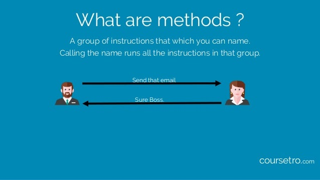 What are methods ? A group of instructions that which you can name. Calling the name runs all the instructions in that gro...