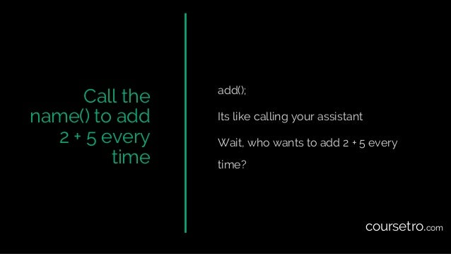 Call the name() to add 2 + 5 every time add(); Its like calling your assistant Wait, who wants to add 2 + 5 every time? co...