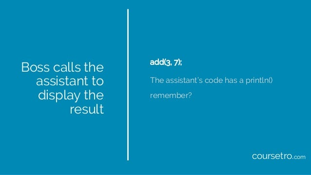 Boss calls the assistant to display the result add(3, 7); The assistant's code has a println() remember? coursetro.com