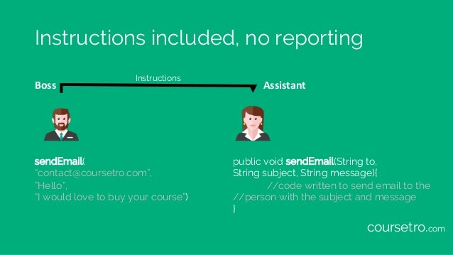 """Instructions included, no reporting Boss Assistant sendEmail( """"contact@coursetro.com"""", """"Hello"""", """"I would love to buy your ..."""