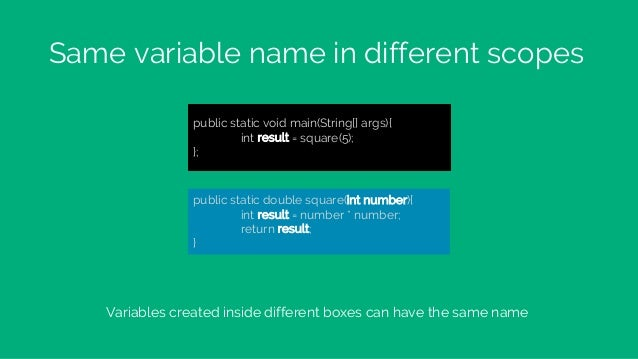 Same variable name in different scopes public static void main(String[] args){ int result = square(5); }; public static do...