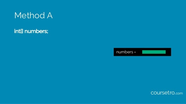 Method A int[] numbers; numbers = coursetro.com