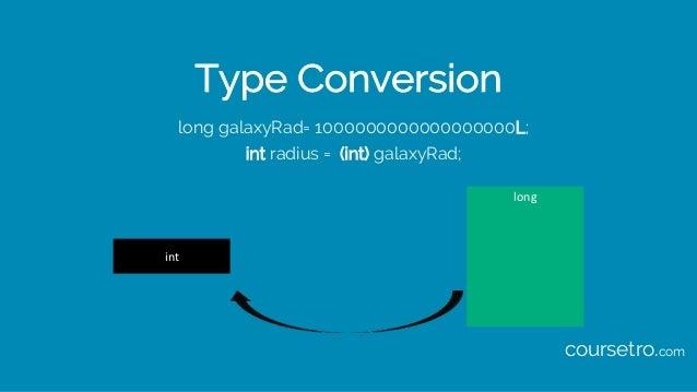 Type Conversion long galaxyRad= 1000000000000000000L; int radius = (int) galaxyRad; long int coursetro.com