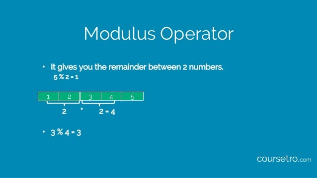Modulus Operator • It gives you the remainder between 2 numbers. 5 % 2 = 1 2 * 2 = 4 • 3 % 4 = 3 21 43 5 coursetro.com