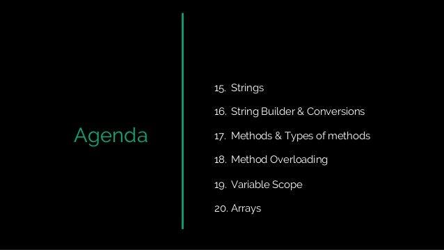 Agenda 15. Strings 16. String Builder & Conversions 17. Methods & Types of methods 18. Method Overloading 19. Variable Sco...