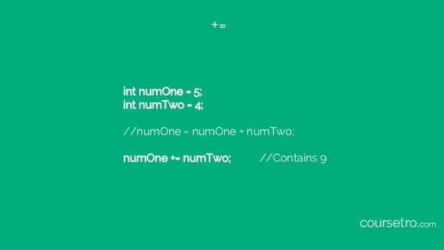 += int numOne = 5; int numTwo = 4; //numOne = numOne + numTwo; numOne += numTwo; //Contains 9 coursetro.com
