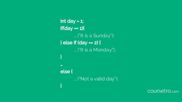 """int day = 1; if(day == 1){ … (""""It is a Sunday""""); } else if (day == 2) { … (""""It is a Monday""""); } … else { … (""""Not a valid d..."""