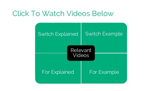 Switch Explained Switch Example For Explained For Example Relevant Videos Click To Watch Videos Below