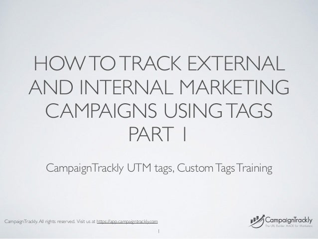 HOWTOTRACK EXTERNAL AND INTERNAL MARKETING CAMPAIGNS USINGTAGS PART 1 CampaignTrackly UTM tags, CustomTagsTraining 1 Campa...
