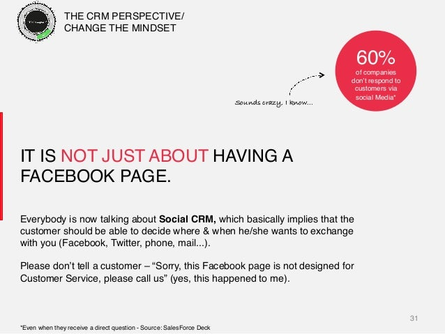 31! IT IS NOT JUST ABOUT HAVING A FACEBOOK PAGE.! Everybody is now talking about Social CRM, which basically implies that ...