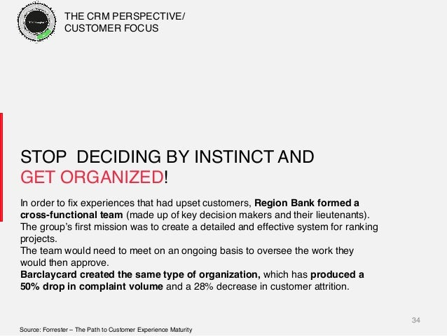 34! STOP DECIDING BY INSTINCT AND GET ORGANIZED!! In order to fix experiences that had upset customers, Region Bank formed ...