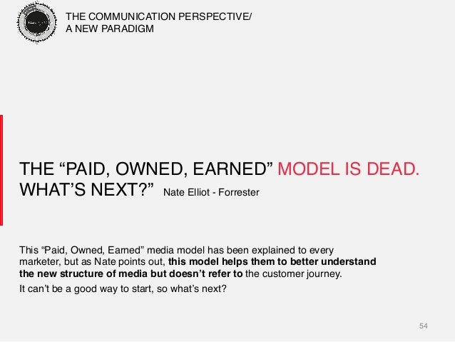 """54! THE """"PAID, OWNED, EARNED"""" MODEL IS DEAD. WHAT'S NEXT?"""" Nate Elliot - Forrester! This """"Paid, Owned, Earned"""" media mode..."""