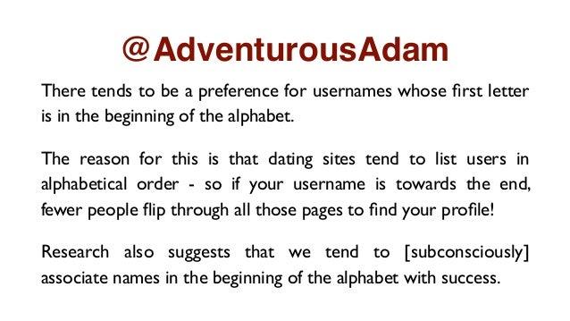 online dating profile username