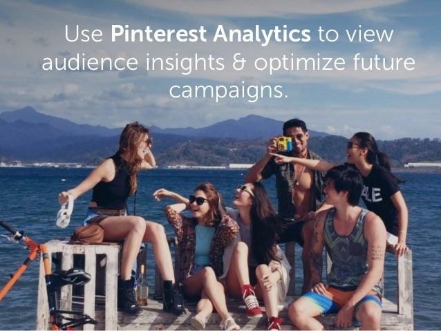 Use Pinterest Analytics to view audience insights & optimize future campaigns.