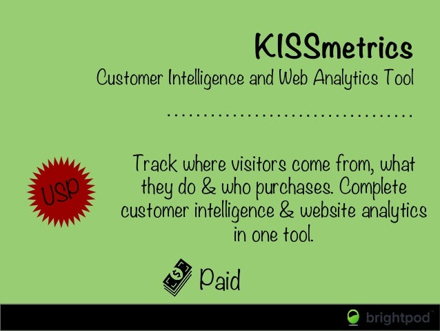 KISSmetrics Paid Customer Intelligence and Web Analytics Tool  Track where visitors come from, what they do & who purchase...