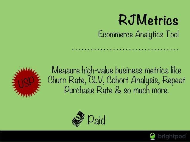 RJMetrics Paid Ecommerce Analytics Tool Measure high-value business metrics like Churn Rate, CLV, Cohort Analysis, Repeat ...