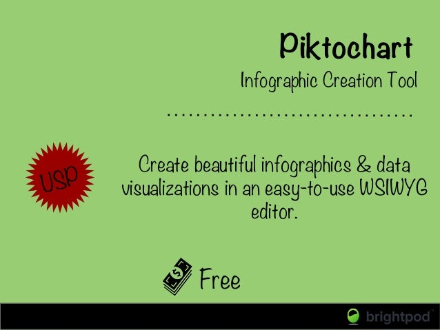 Piktochart Free Infographic Creation Tool USP Create beautiful infographics & data visualizations in an easy-to-use WSIWYG...