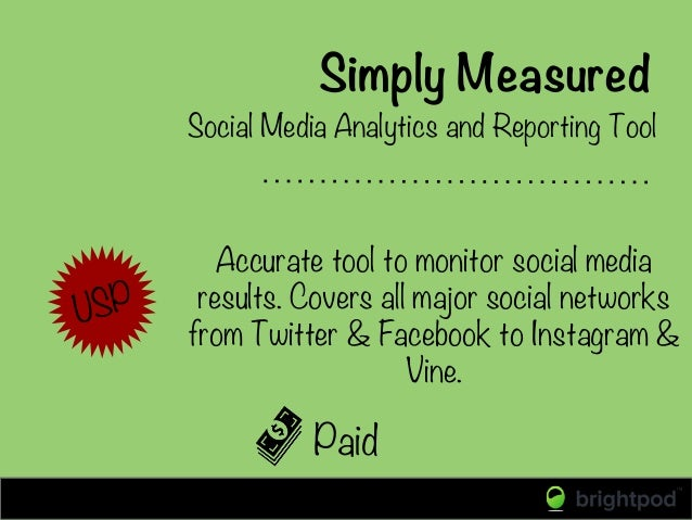 Simply Measured Paid Social Media Analytics and Reporting Tool USP Accurate tool to monitor social media results. Covers a...