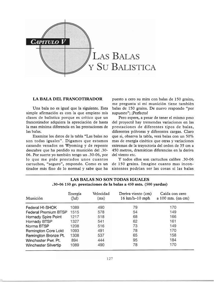 LA BALA DEL FRANCOTIRADOR                       puesto a cero su mira con balas de 150 grains,                            ...
