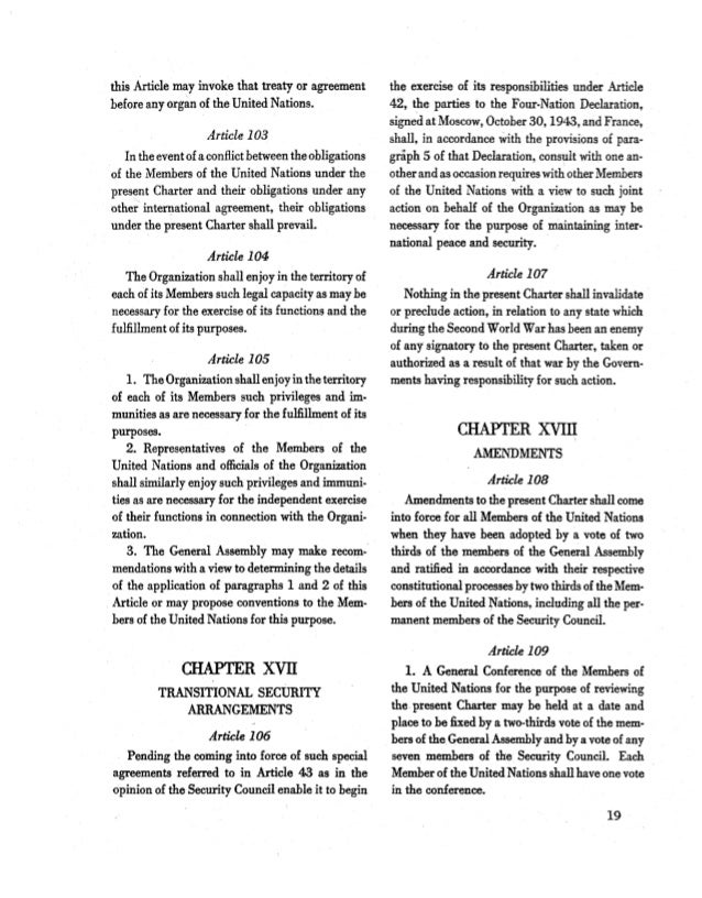 article 103 for united nations charter